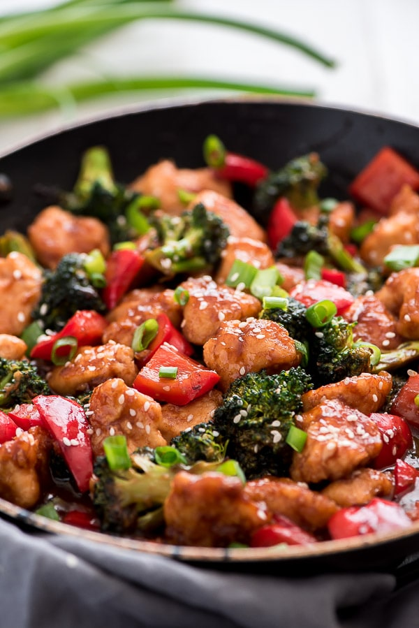 General Tso's Chicken in a skillet