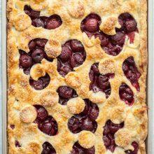 overhead shot of fresh cherry slab pie