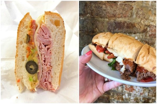 Muffuletta and Boiled Brisket Sandwich