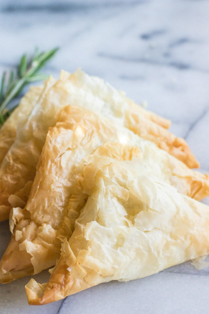 Phyllo Triangles with Gorgonzola and Rosemary