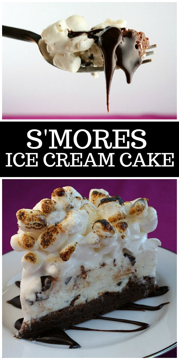 S'Mores Ice Cream Cake from RecipeGirl.com #Smores #icecreamcake #icecream #cake #summer #dessert #recipe #RecipeGirl