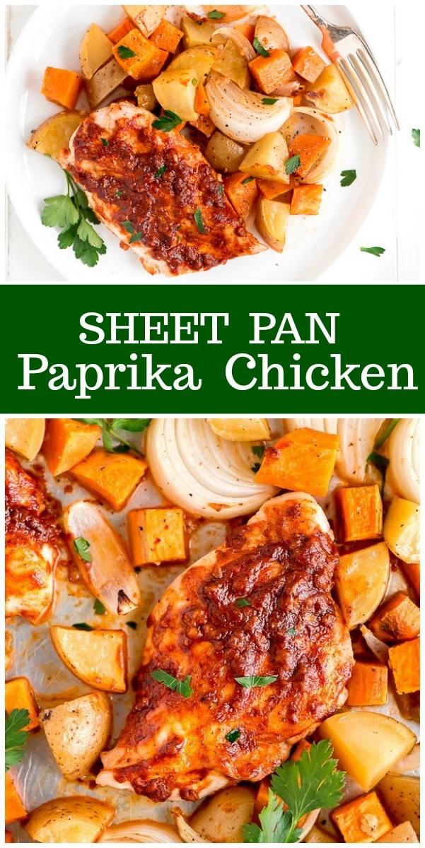 Sheet Pan Paprika Chicken recipe from RecipeGirl.com #sheetpan #paprika #chicken #recipe #recipegirl