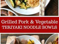 pinterest collage image for teriyaki pork noodle bowls