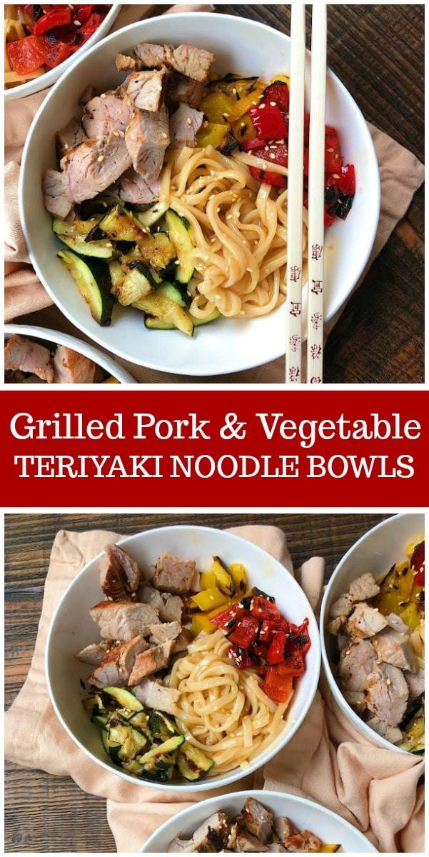 Grilled Pork and Vegetable Teriyaki Noodle Bowls recipe from RecipeGirl.com #grilling #pork #teriyaki #dinner #easy #recipe #RecipeGirl
