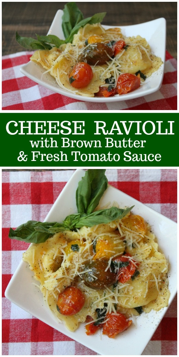 Cheese Ravioli with Brown Butter and Fresh Tomato Sauce recipe from RecipeGirl.com #ravioli #brownbutter #tomato #recipe #RecipeGirl
