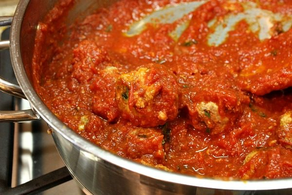 How to Make Homemade Meatballs : cook in marinara sauce