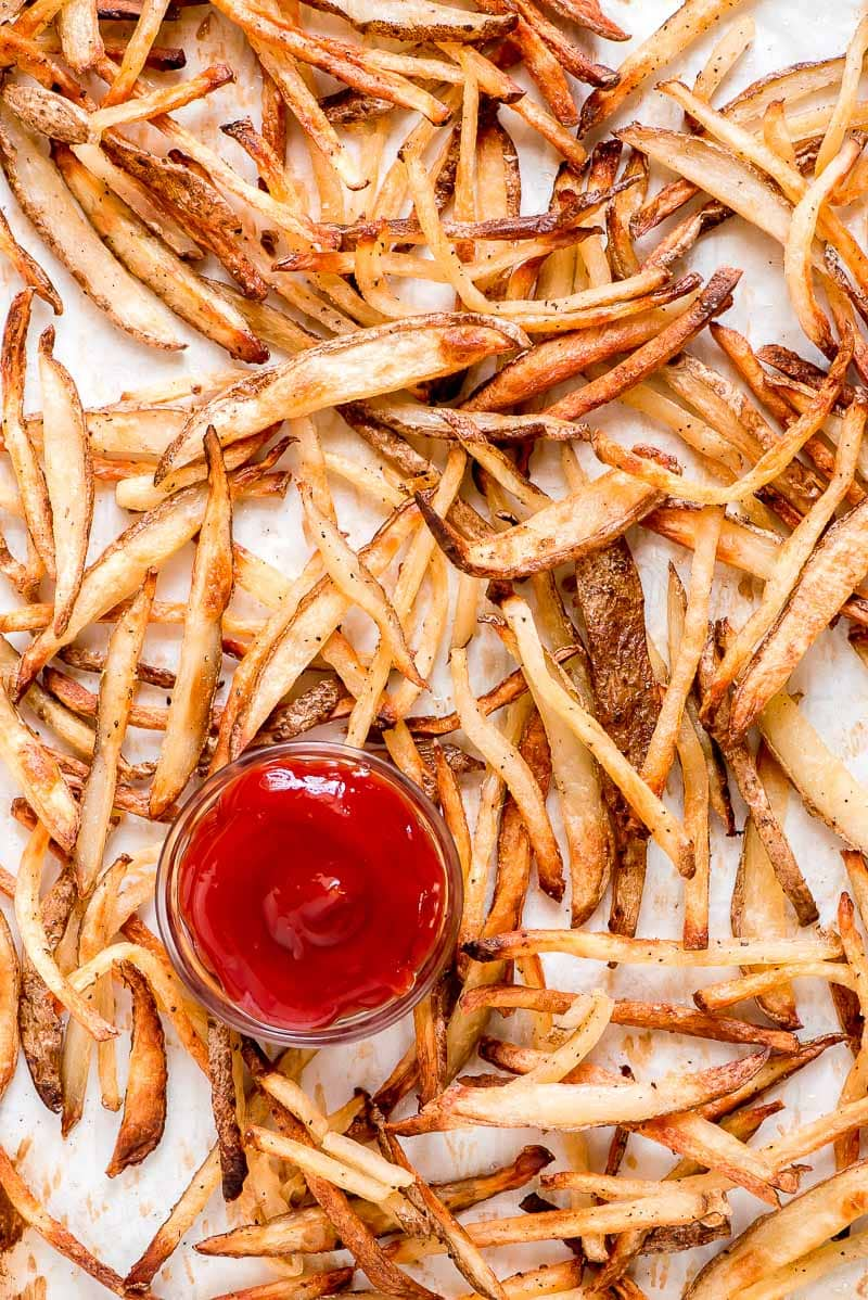 Baked French Fries with ketchup