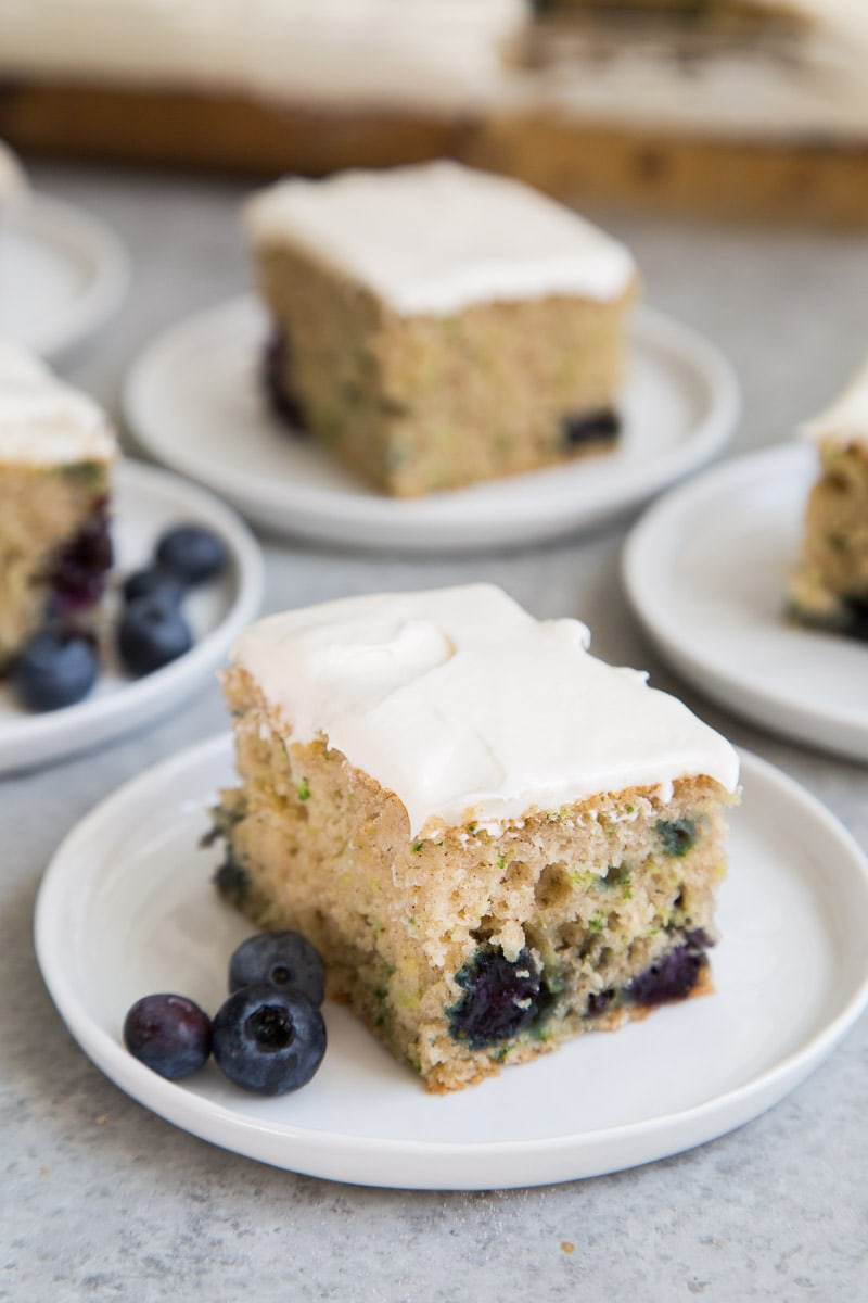 Slices of Blueberry Zucchini Sheet Cake