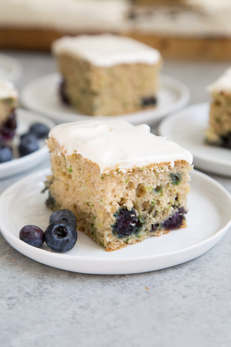 Slice of Blueberry Zucchini Sheet Cake
