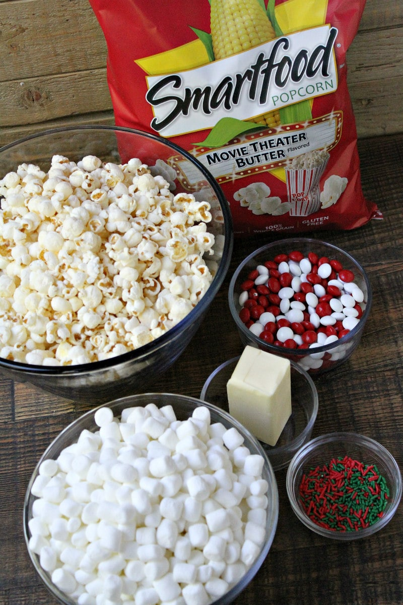 Ingredients for Holiday Marshmallow Popcorn Cake