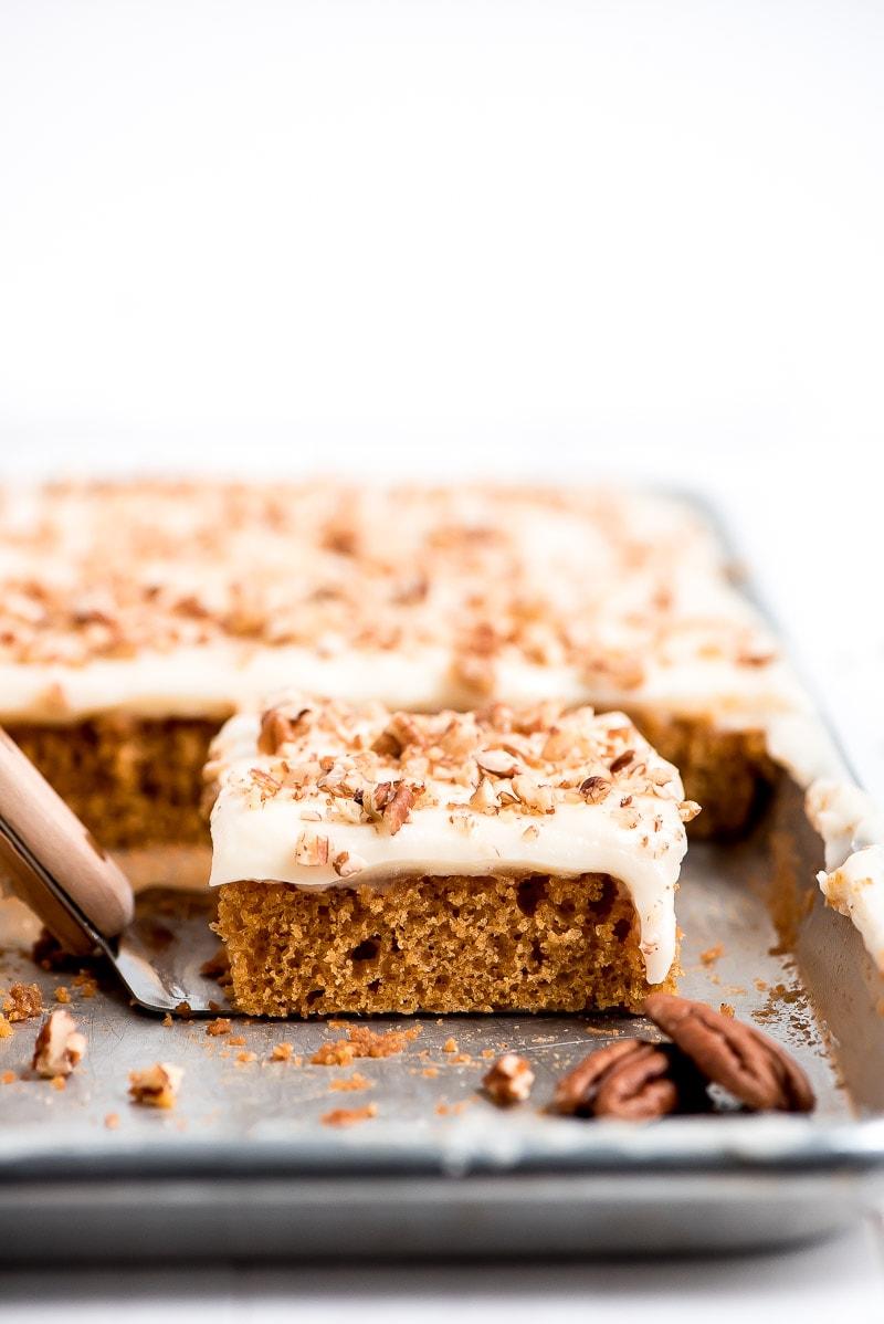 Slice of Pumpkin Sheet Cake