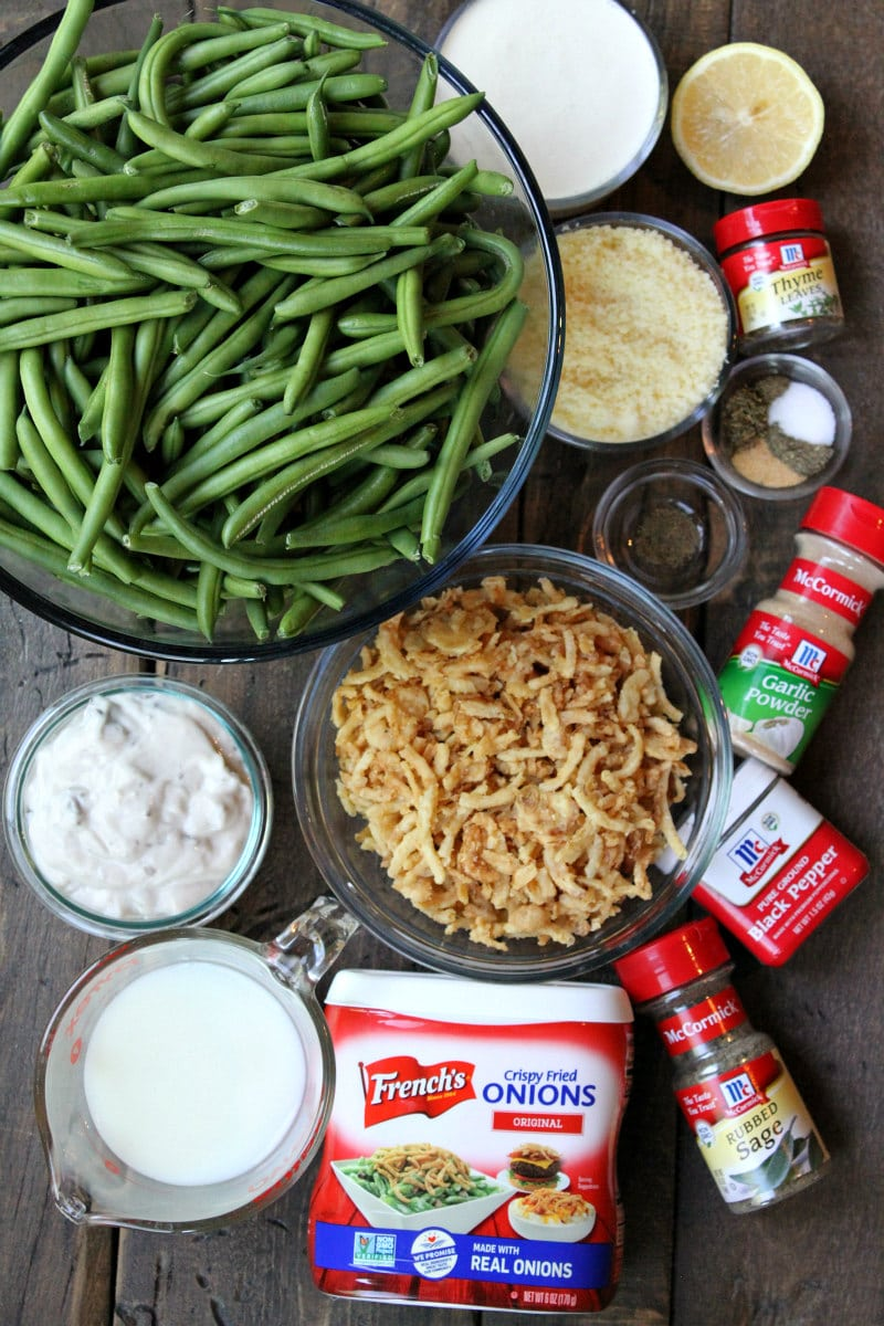 Ingredients for Green Bean Casserole- Two Ways