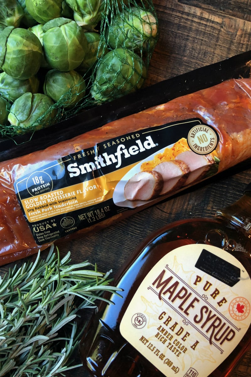 Ingredients for Sheet Pan Pork Tenderloin with Maple Rosemary Brussels Sprouts