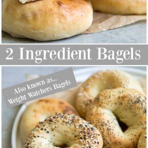 Pinterest collage image for 2 ingredient bagels