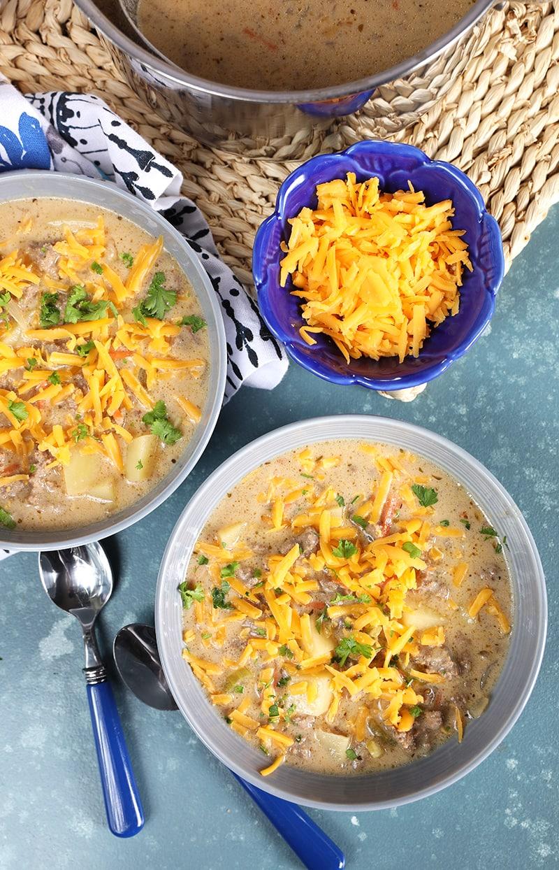 Bowls of Easy Cheeseburger Soup