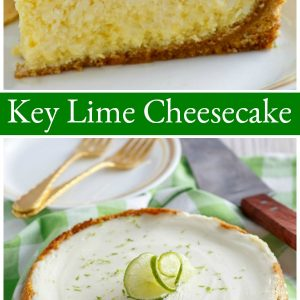 pinterest collage image for key lime cheesecake