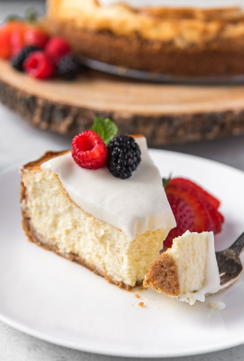Slice of New York Style Cheesecake with fresh berries