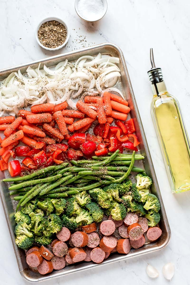 Prep for Sheet Pan Roasted Veggies and Sausage