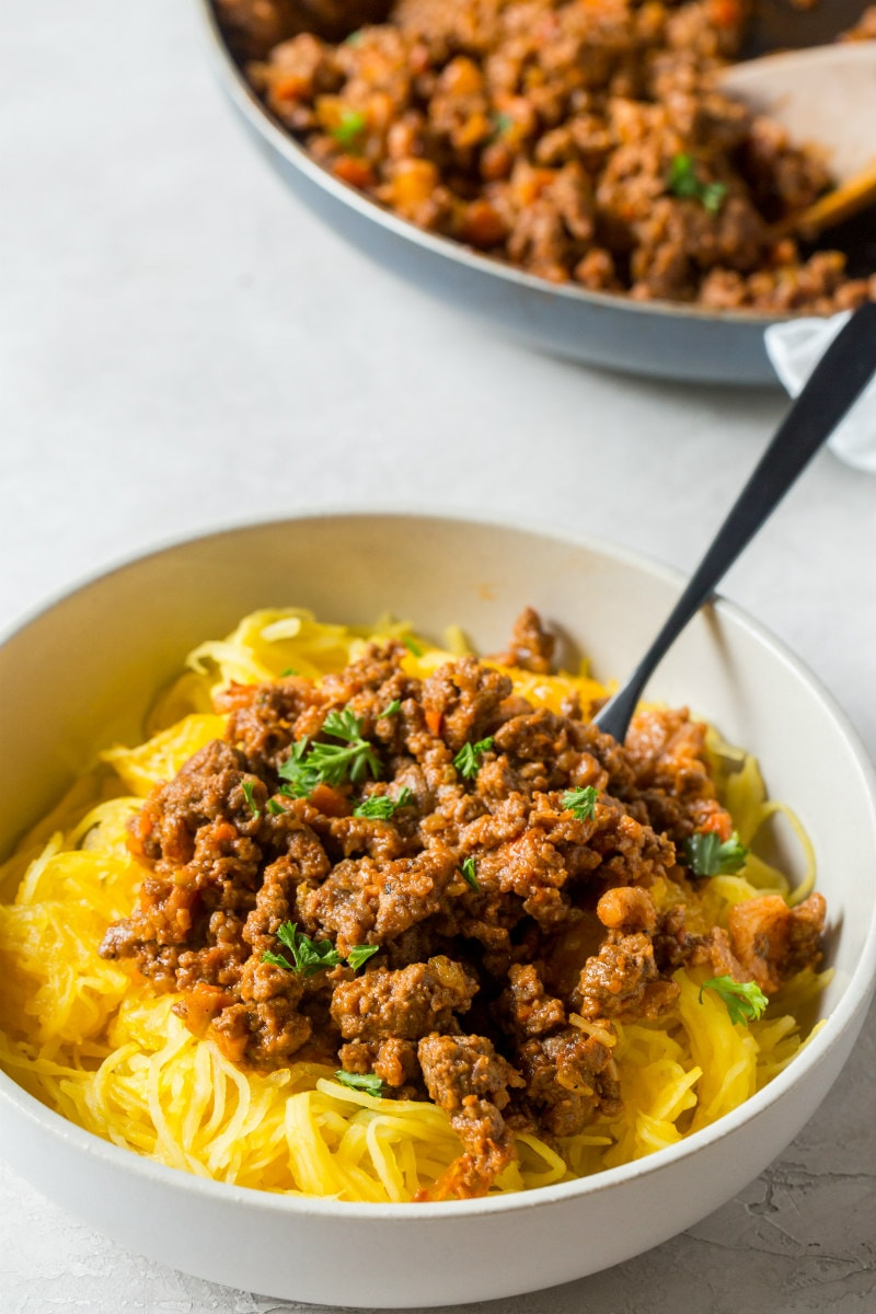 Bowl of Spaghetti Squash Bolognese