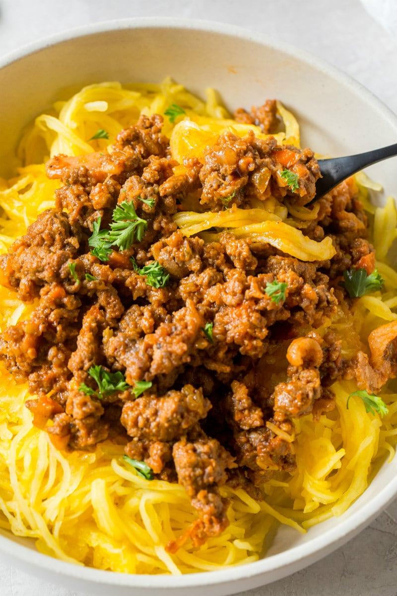 Bowl of Paleo Spaghetti Squash Bolognese