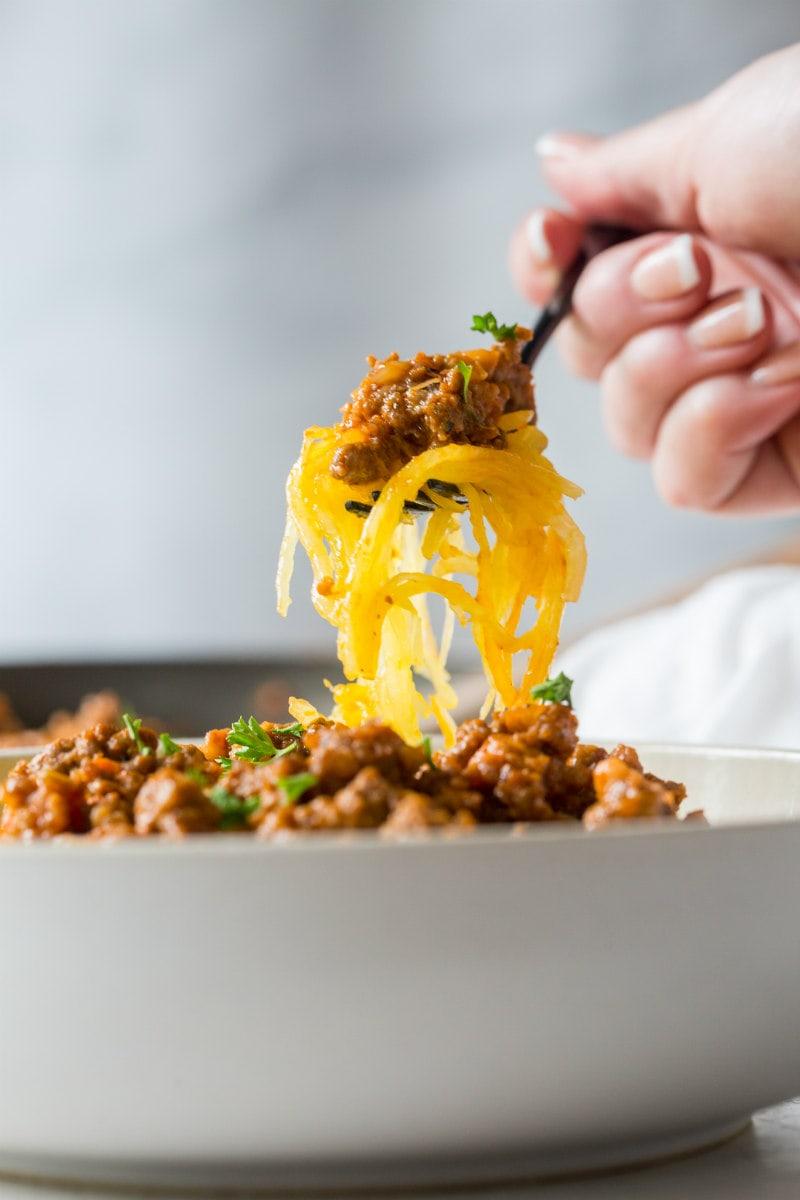 A forkful of Spaghetti Squash Bolognese