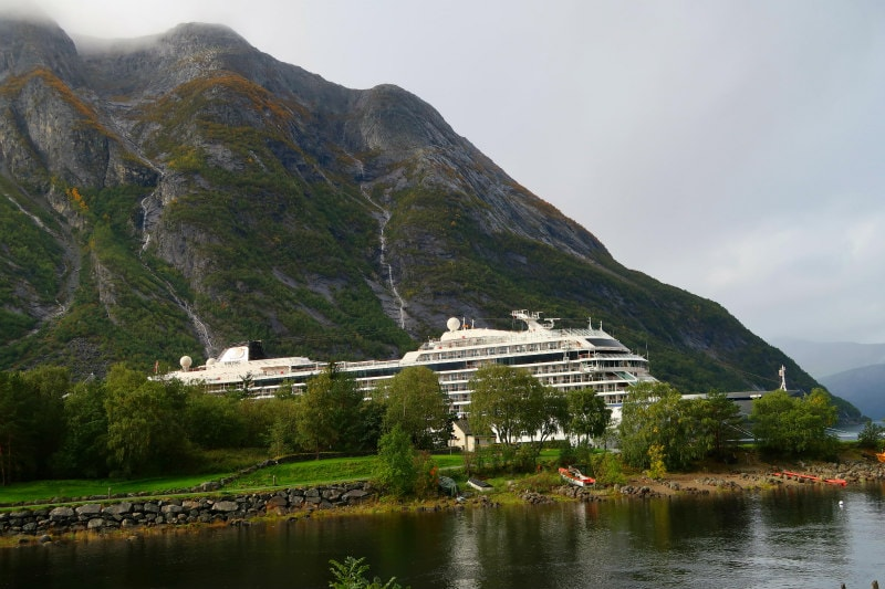Viking Cruise Ship docked in Eidfjord, Norway
