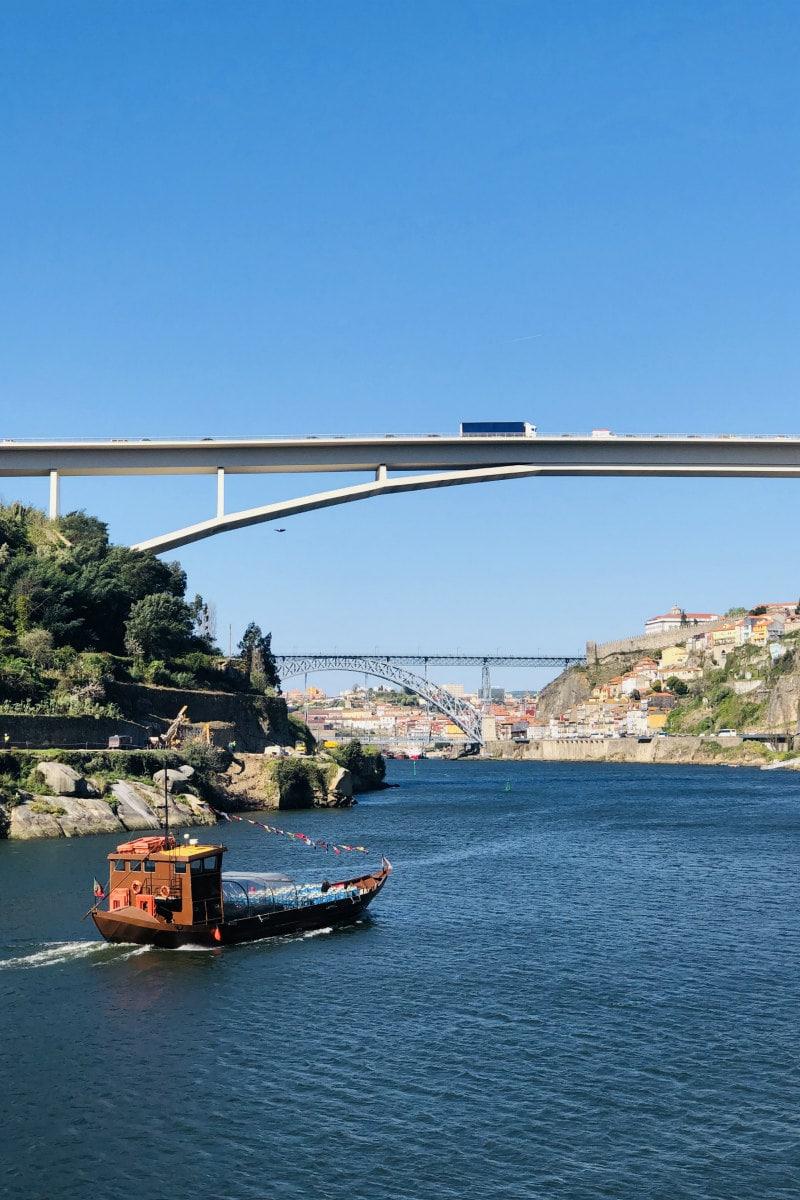 view down Douro River in Porto