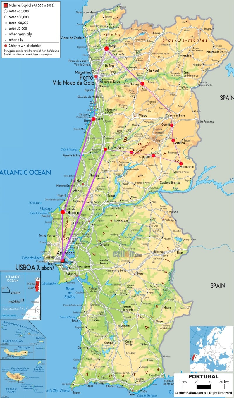 Map of Road Trip in Portugal