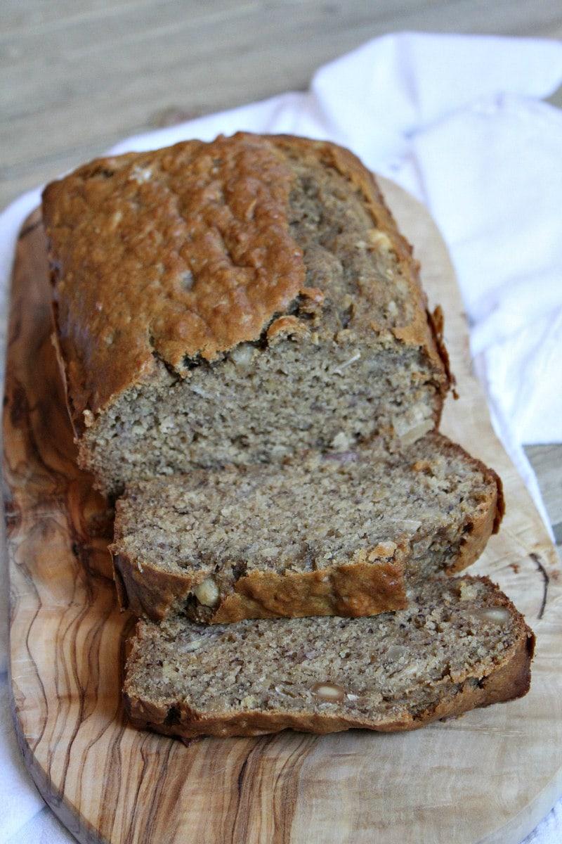 Sliced loaf of Coconut Banana Bread