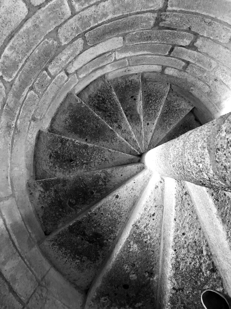 Stone stairwell in the cathedral: Guarda, Portugal