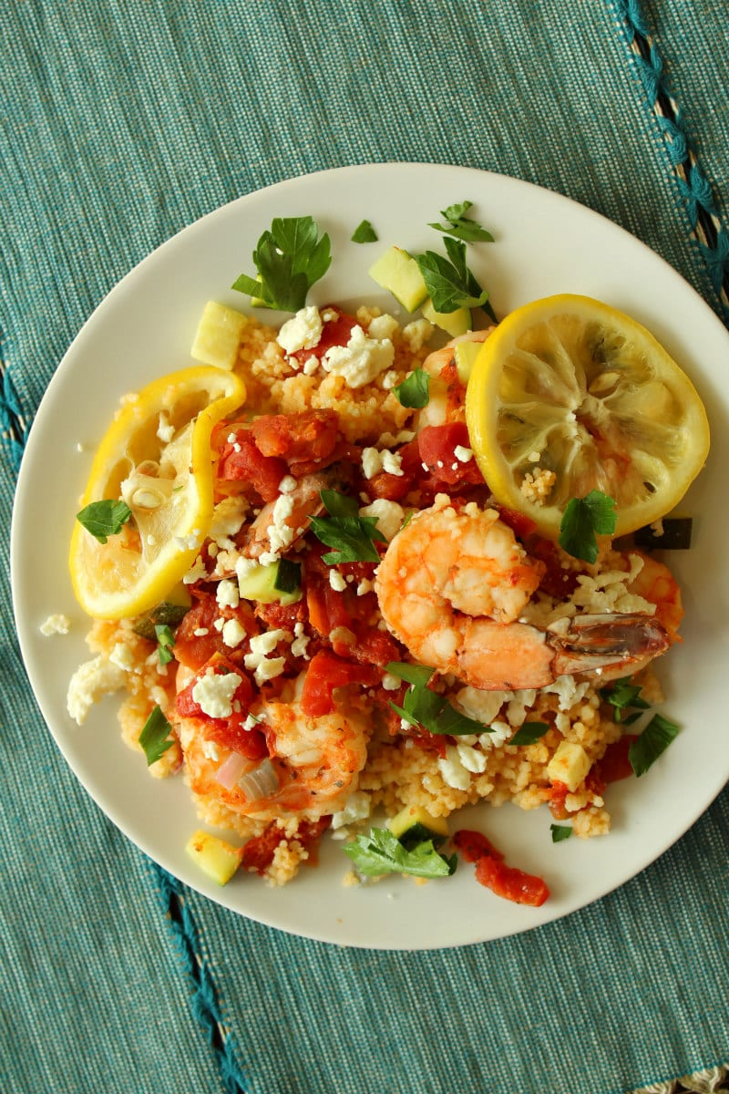 Mediterranean Shrimp Foil Packets served on a plate