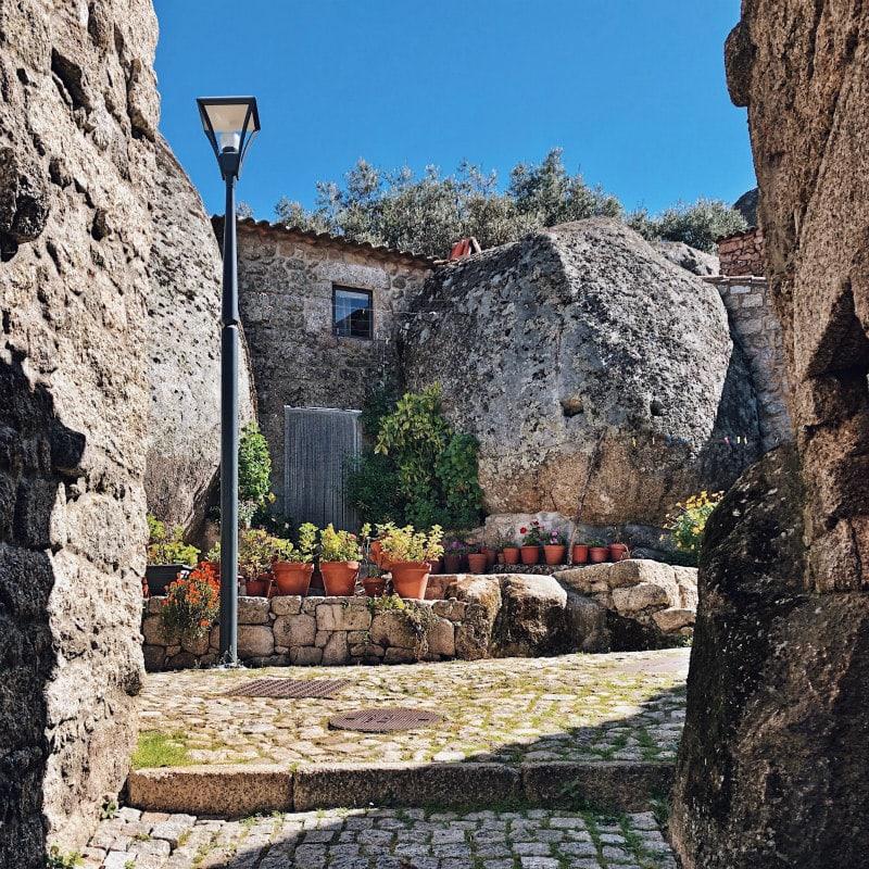 Houses built among the giant boulders of Monsanto, Portugal