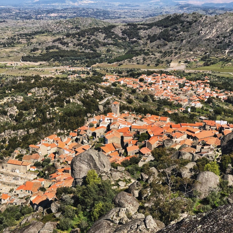 View down to village of Monsanto, Portugal