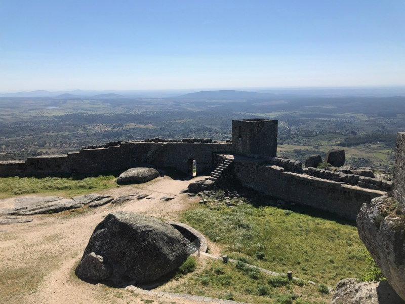 castle remains at the top of Monsanto, Portugal