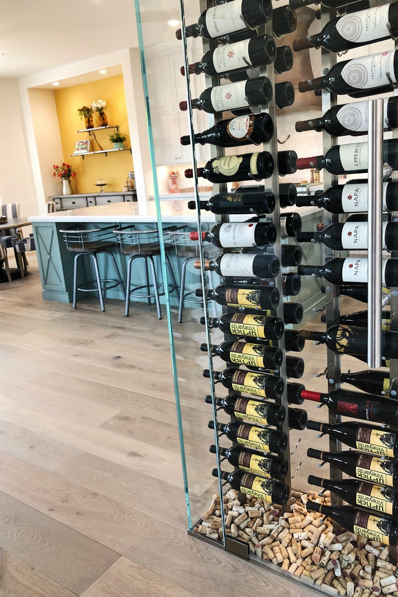 Wine wall leading into the kitchen