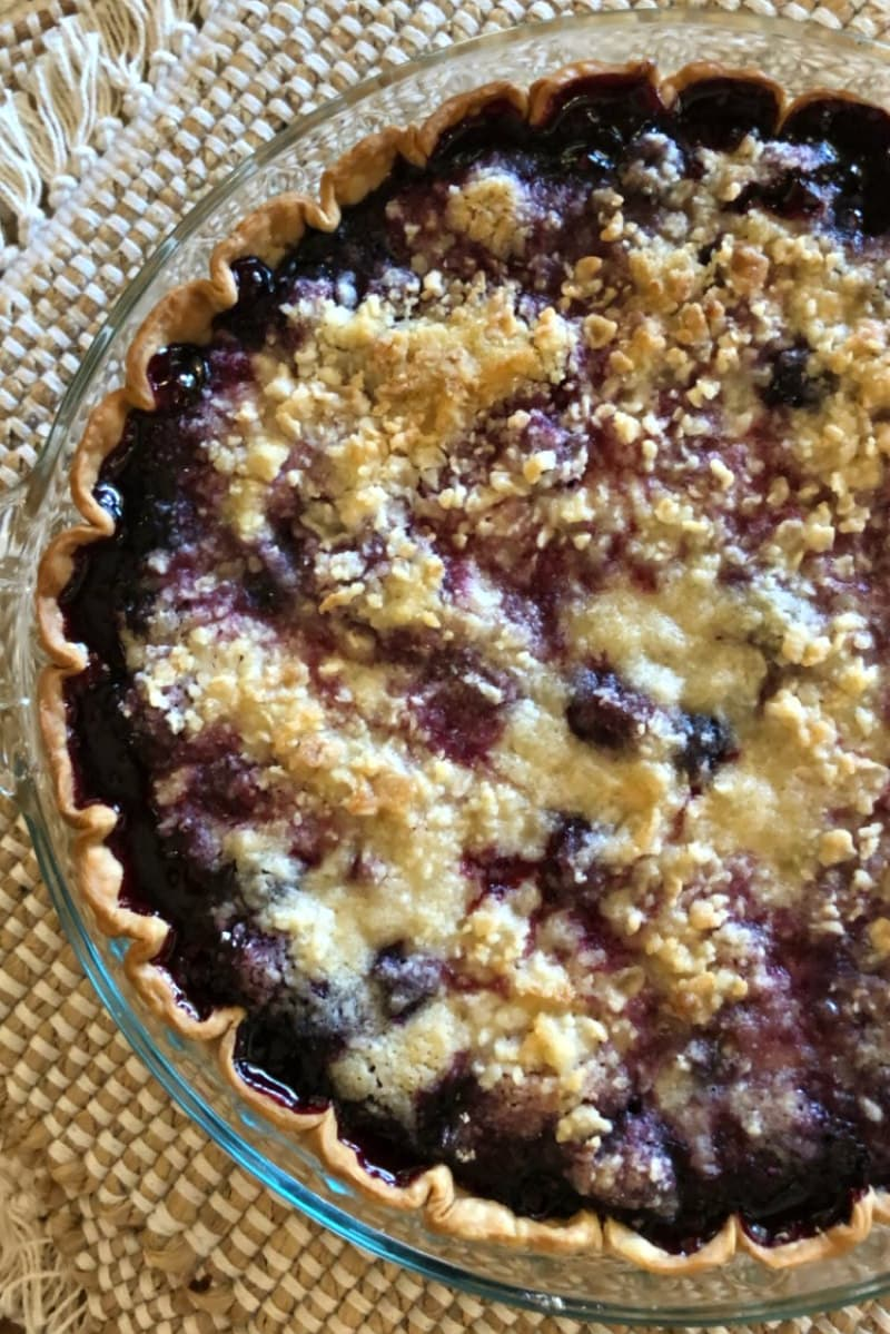 Simple Three Berry Pie with Crumb Topping