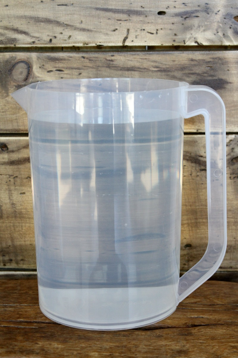 plastic pitcher of water