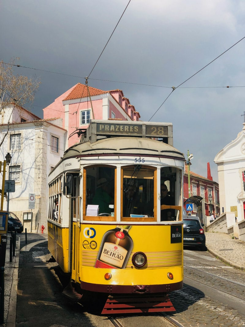 Yellow tram in Lisbon, Portugal