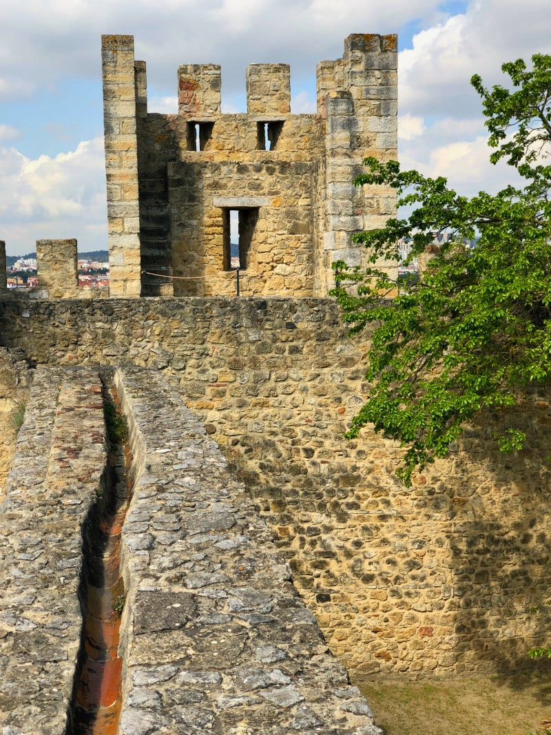Remains of Sao Jorge Castle in Lisbon, Portugal