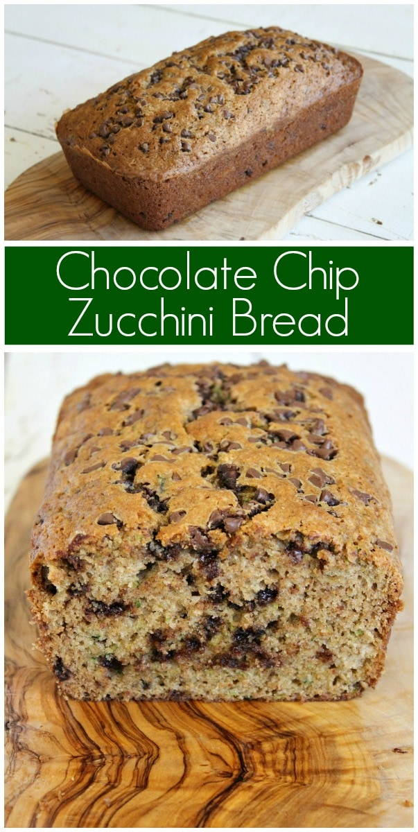 pinterest collage image for chocolate chip zucchini bread