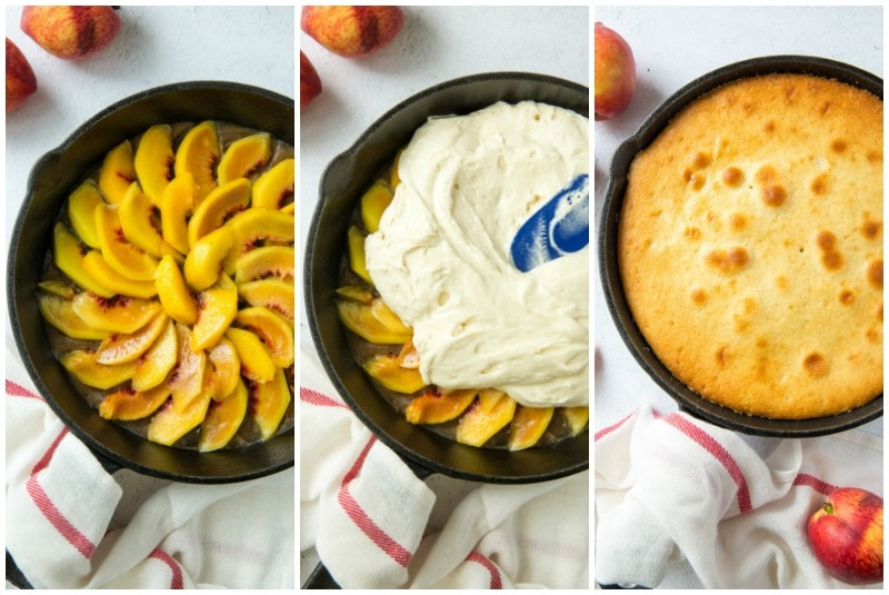 three photo process showing how to put peaches in cast iron skillet for peach upside down cake- peaches in pan, batter on top, and the baked cake