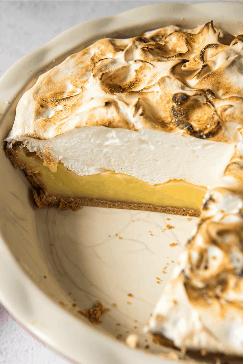 peek at the inside of a Lemon Meringue Pie