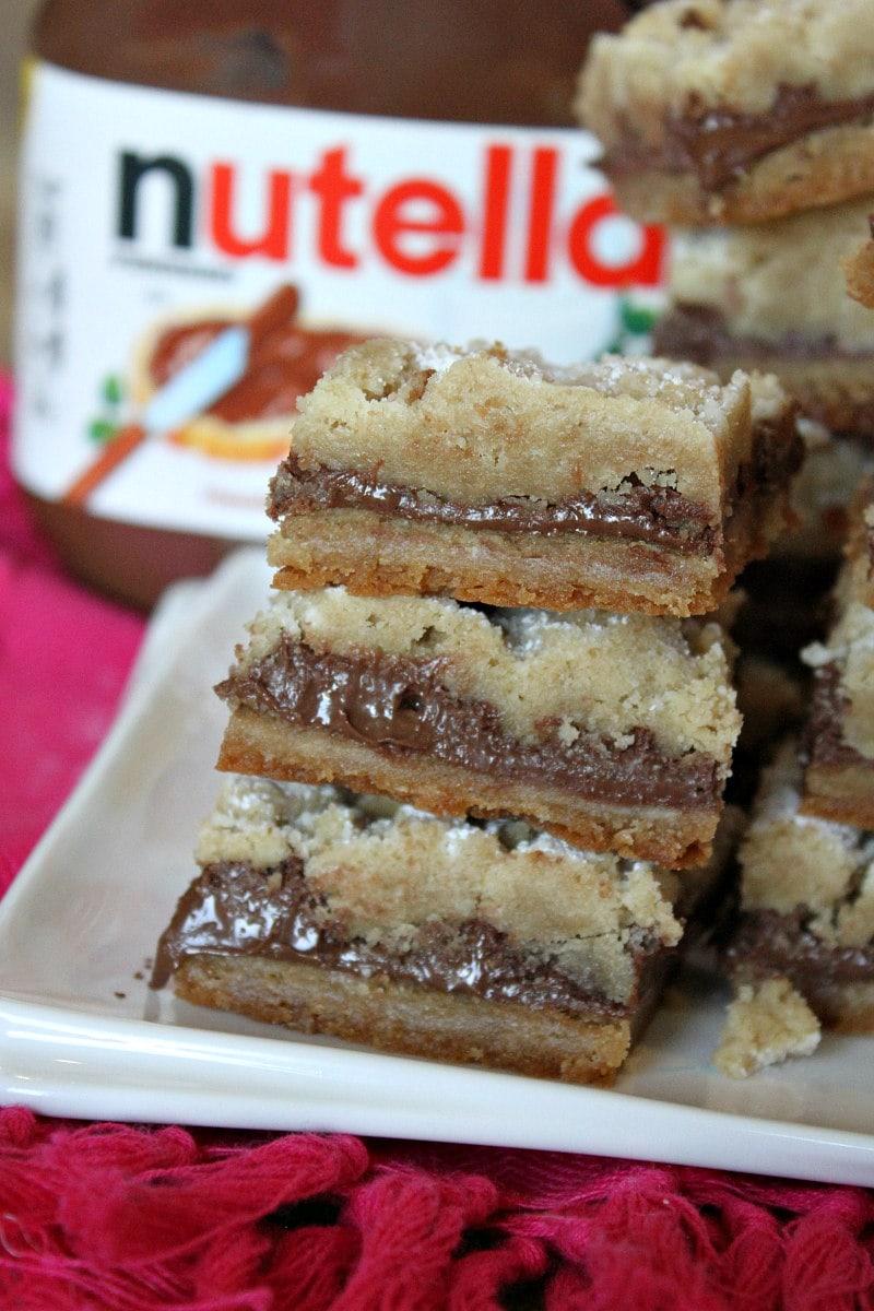 stack of Nutella Shortbread Bars