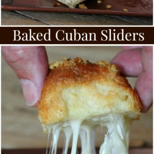pinterest collage image for baked cuban sliders