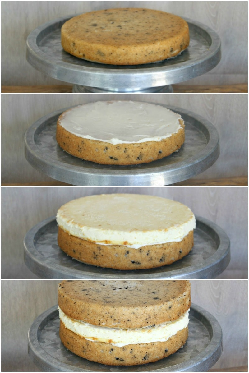 How to assemble a Cookies and Cream Cheesecake Cake