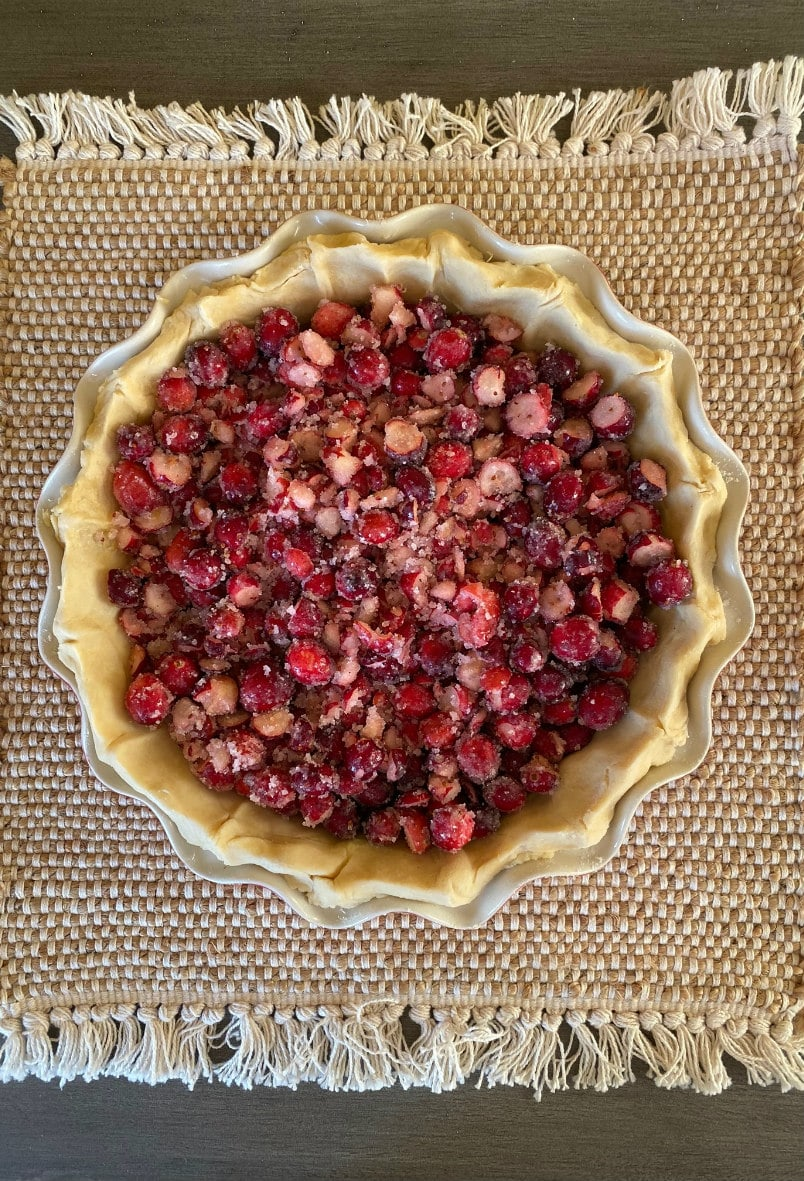 Cranberry Pie ready for the oven