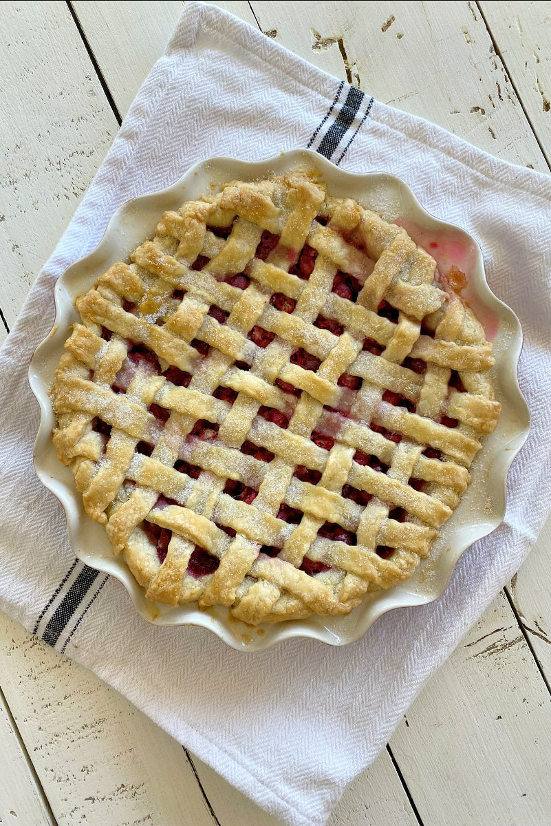 Fresh Cranberry Pie with a lattice crust