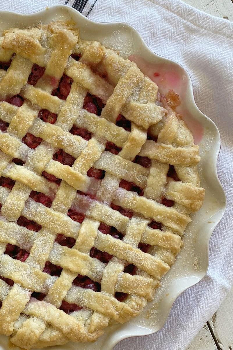 Fresh Cranberry Pie with lattice crust