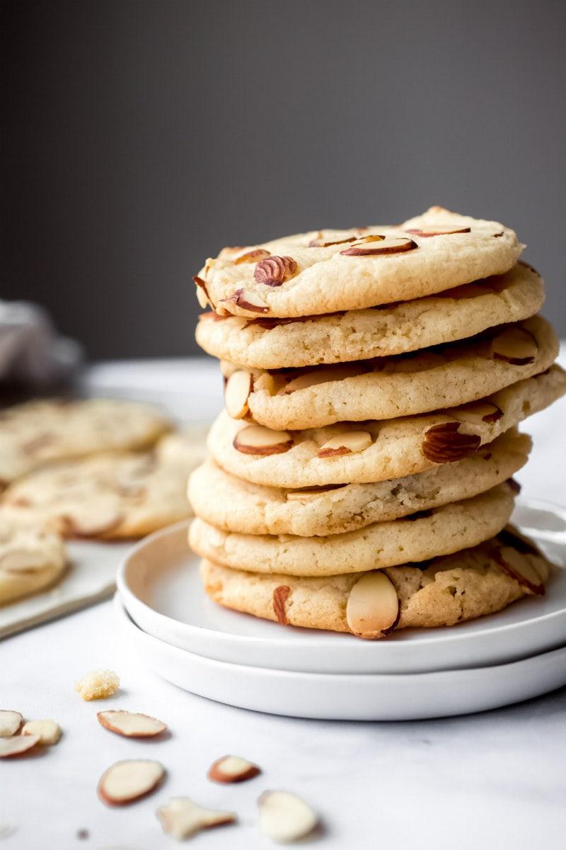 stack of Almond Crinkle Cookies