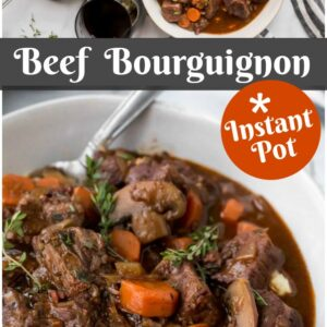 Pinterest collage image for Instant Pot Beef Bourguignon